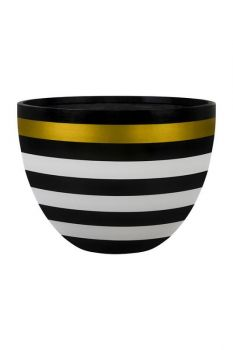 Barton Egg Planter Black/White&Gold Bands Small