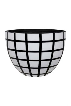 Reid Egg Planter Black/White Squares Small