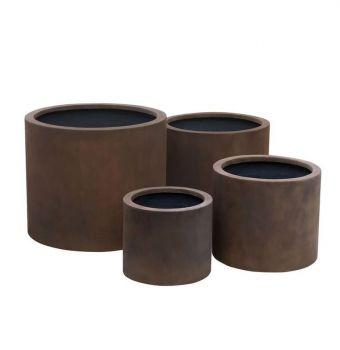 Wide Cylinder Planter Neo Coffee Medium Pot