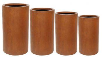 Tall Cylinder Planter Rust Wet Large Pot