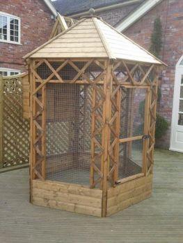 Buttercup Outdoor Bird Cage Hexagonal Victorian Aviary 8' diameter with nestbox
