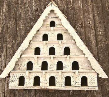 Five Tier Dovecote (Large Hole) Traditional English Triangular Wall Mounted Birdhouse for Doves or Pigeons