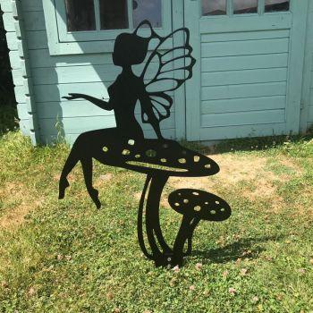 Fairy On A Toadstool Garden Art