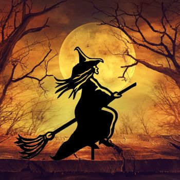 Witch On A Broomstick Garden Art