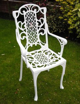 Victorian Carver Chair British Made, High Quality Cast Aluminium Garden Furniture