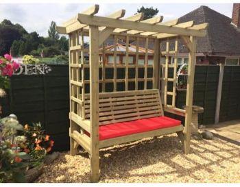 Beatrice Arbour - Sits 3, wooden garden bench with trellis