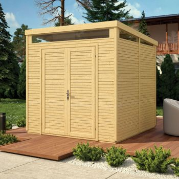 8x8 Pent Security Shed - Unpainted Natural