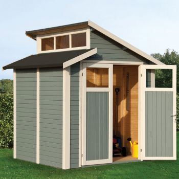 7x7 Skylight Shed - Painted Light Grey