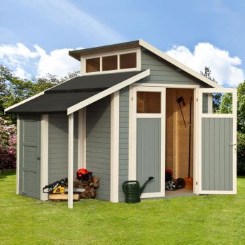 7x10 Skylight Shed with Store - Painted Light Grey