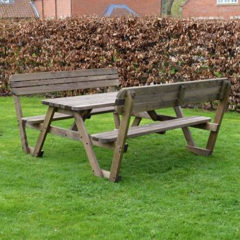 Lyddington Rounded Picnic Bench 5ft - Rustic Brown