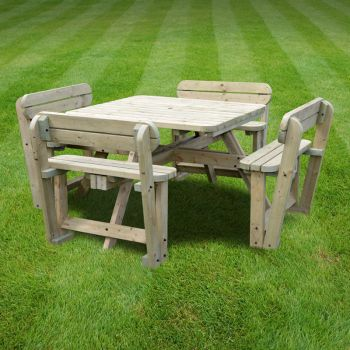 Braunston Rounded Picnic Table Light Green
