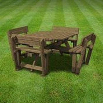 Braunston Picnic Table - Square - Rustic Brown