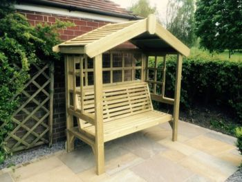 Cottage Arbour - Trellis Back And Sides, wooden garden bench seat with trellis