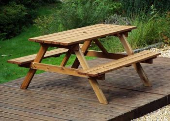 Six Seater Picnic Table Gold - Fully Assembled