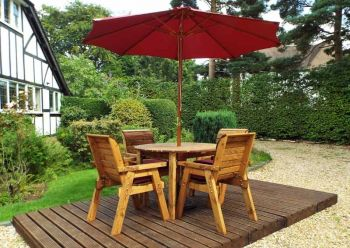 Four Seater Round Table Set with Burgundy Cushions - Fully Assembled
