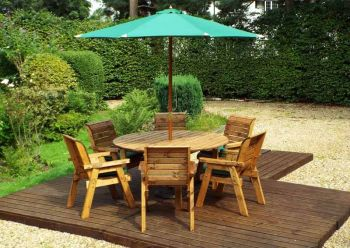 Six Seater Circular Table Set with Green Cushions - Fully Assembled