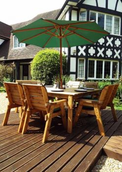 Eight Seater Square Table Set with Green Cushions - Fully Assembled