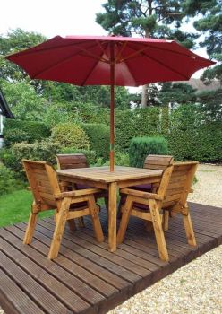 Four Seater Square Table Set with Burgundy Cushions - Fully Assembled