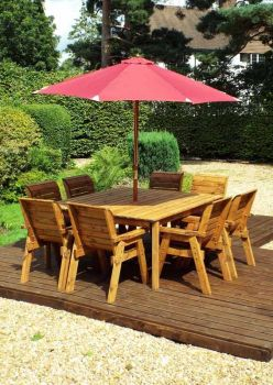 Eight Seater Square Table Set with Burgundy Cushions - Fully Assembled