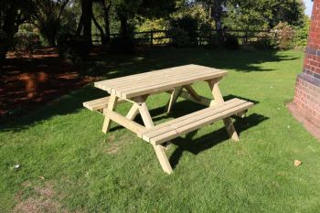 Deluxe A-Frame Picnic Table, traditional wooden picnic bench