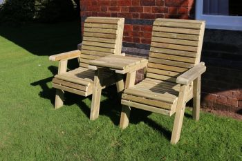 Ergonomical Companion Set, wooden garden love seat, chair set - Straight