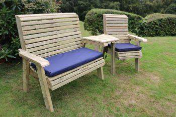 Ergonomic Trio Set, wooden garden bench and chair set