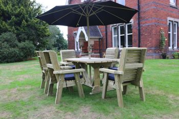 Ergo Table And Chair Set - Sits 6, wooden garden dining furniture