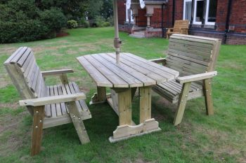 Ergo Table Bench Set - Sits 4, wooden garden dining furniture