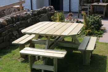 Square Picnic Table Sits 8, wooden garden bench