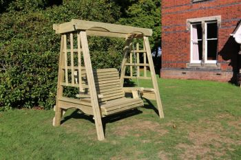 The Cottage Wooden Garden Swing - Sits 2, wooden garden swinging seat hammock