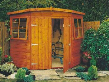 Corner Shed Double Doors Tongue and Groove Garden Shed Workshop Approx 10 x 10 Feet - Honey Brown Timber Basecoat