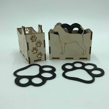 Boxer Paw Print Coasters