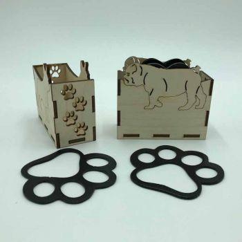British Bulldog Paw Print Coasters