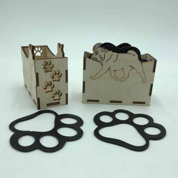 Pug Paw Print Coasters