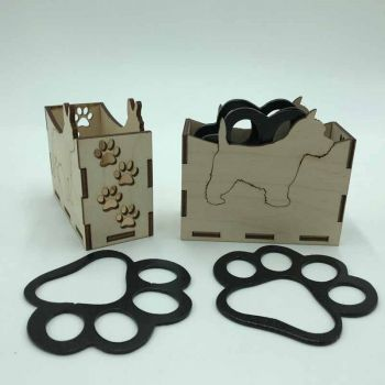 West Highland Terrier Paw Print Coasters