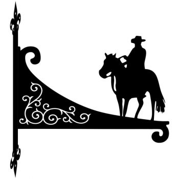 Cowboy Riding Decorative Scroll Hanging Bracket