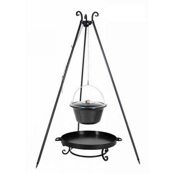 Viking Barbecue Tripod & 14L Enamelled Boiler & Fire Bowl Pan 32