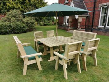 Ergo 8 Seater Square Table Including 2 Bench and 4 Chairs
