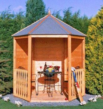 Gazebo Arbour Dip Treated Garden Arch Seat Approx 6 x 7 Feet