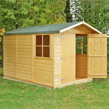 Guernsey Double Doors Tongue and Groove Garden Shed Workshop Approx 7 x 10 Feet