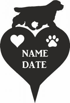 Clumber Spaniel Heart Memorial Plaque