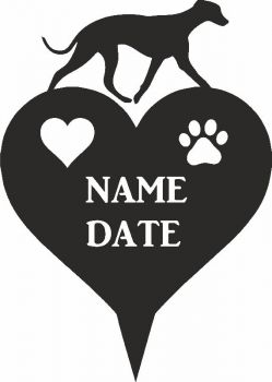 Whippet Heart Memorial Plaque