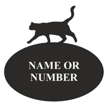 Cat Oval House Plaque - 4 - Regular