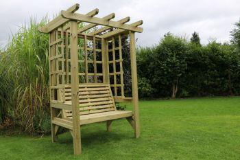 Beatrice Arbour - Sits 2, wooden garden bench with trellis