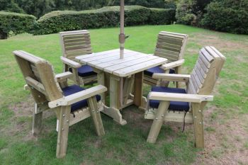 Ergo 4 Seater Set - Sits 4, wooden garden furniture dining set with table and chairs