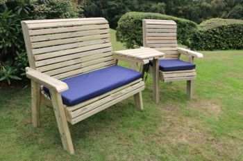 Ergonomic Trio Set, wooden garden bench and chair set