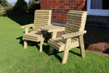 Ergonomic Companion Set, wooden garden love seat - Angled
