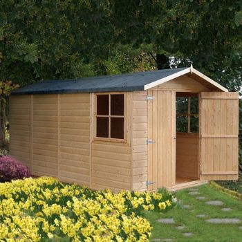 Jersey Double Doors Tongue and Groove Garden Shed Workshop Approx 7 x 13 Feet
