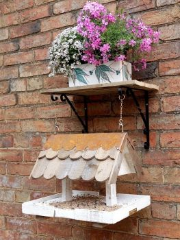 Loxwood hanging bird table with shingle roof and  plant shelf, brackets and chain included