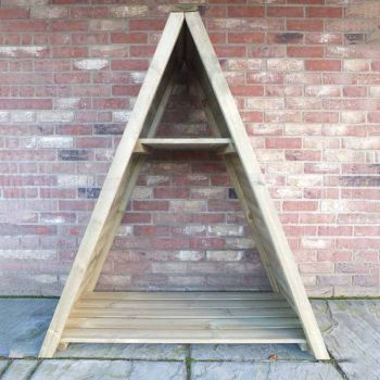 "Large Triangular 3' 11"" x 2' Tongue & Groove Pressure Treated Log Store"